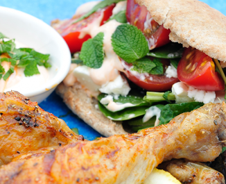 Moroccan Spiced Chicken Drumsticks with Filled Pittas