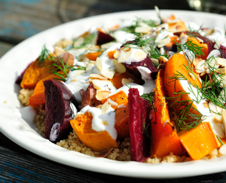 Roasted Roots and Beetroot Couscous with Garlic and Caraway seed Dressing