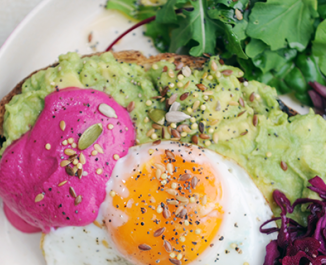 Smashed Avocado, Fried Egg & Beet Tzatziki