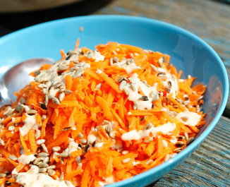 Carrot and Sunflower Seed Salad with Orange Chilli Yogurt Dressing