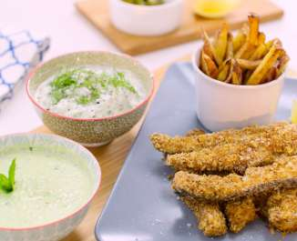 The Naked Blondie Fish Goujons with Low Cal Dips